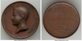 "Pedro II bronze ""Prince Eugine of Savoia Carignano Visit"" Medal 1839 UNC (Residue), Meili-89, VC-184. 39mm. 22.93gm. Struck to commemorate the instruc..."
