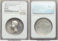 "Pedro II silver ""Prince Eugene of Savoia Carignano Visit"" Medal 1839 MS62 NGC, Meili-89, VC-184. 38mm. Struck to commemorate the instruction trip of P..."