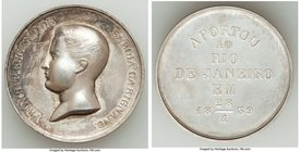 "Pedro II silver ""Prince Eugene of Savoia Carignano Visit"" Medal 1839 Prooflike (Surface Hairlines), Meili-89, VC-184. 38mm. 32.07gm. Struck to commemo..."