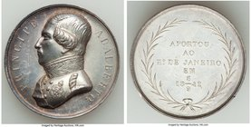 "Pedro II silver ""Visit of Prince Adalberto of Russia"" Medal 1842 Prooflike (Cleaned), Fonrobert-8675. 39mm. 36.74gm. From the Dresden Collection of Hi..."