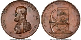 "Pedro II copper ""Rio de Janeiro Mint Visit"" Medal 1855 MS62 NGC, Meili-27. 58mm. From the Dresden Collection of Hispanic and Brazilian Proclamation Me..."