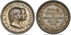 "Pedro II silver ""Isabel & Leopoldina Mint Visit"" Medal 1856 MS62 NGC, VC-43, Meili-28. 29mm. Obv. conjoined busts of Princesses Isabel and Leopoldina...."