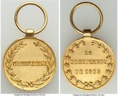 "Pedro II gold ""Uruguayana Rendition"" Decoration 1865 UNC (Cleaned), Meili-123, Ross BR-17. 20mm. 9.64gm. With suspension loop. From the Dresden Collec..."