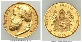 "Pedro II gold ""Army and Armada of Brazil"" Decoration 1866 UNC (Lightly Cleaned), Meili-114. 15mm. 3.03gm. From the Dresden Collection of Hispanic and ..."