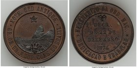 "Pedro II bronze ""Masonry"" Medal 1874 Choice UNC (Residue), Meili-144. 35mm. 19.42gm. From the Dresden Collection of Hispanic and Brazilian Proclamatio..."