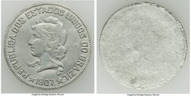 Republic Uniface Trial 1000 Reis 1907 UNC, Original surfaces. 26mm. 1.71gm. Struck on a wafer-thin planchet, suggesting a die trial. From the Dresden ...