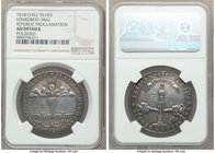 "Republic silver ""Republic Proclamation"" Medal 1818 AU Details (Polished) NGC, Fonrobert-9842. 36mm. From the Dresden Collection of Hispanic and Brazil..."