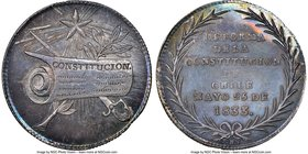 "Republic silver ""Constitution Proclamation"" Medal 1833 MS64 NGC, Fonrobert-9853. 33mm. From the Dresden Collection of Hispanic and Brazilian Proclamat..."