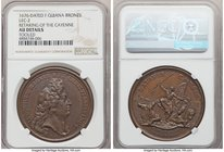 "Louis XIV bronze ""Retaking of the Cayenne"" Medal 1676-Dated AU Details (Tooled) NGC, Lec-2. 42mm. From the Dresden Collection of Hispanic and Brazilia..."