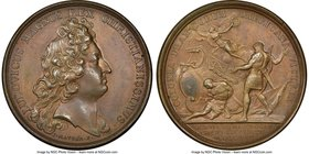 "Louis XIV bronze ""Defeat of the Dutch"" Medal 1674-Dated MS62 Brown NGC, Lec-1. 40mm. From the Dresden Collection of Hispanic and Brazilian Proclamatio..."