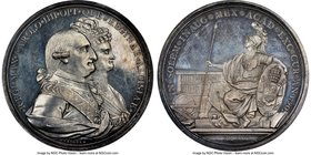 "Charles IV silver ""Mexico City University"" Medal 1790 MS64 NGC, Grove-C-36A. 48mm. From the Dresden Collection of Hispanic and Brazilian Proclamation ..."
