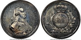 Charles IV silver La Ciudad de Los Angeles Proclamation Medal 1790 AU55 NGC, Grove-C-122, Heir-188. 48mm. Mislabeled on the holder as Grove-C-72 (Guan...