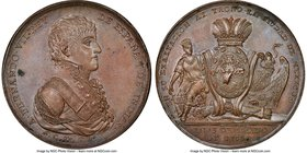Ferdinand VII bronze Mexico City Proclamation Medal 1808 MS63 Brown NGC, Grove-F-1b. 43mm. From the Dresden Collection of Hispanic and Brazilian Procl...