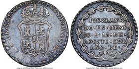 Ferdinand VII silver Mexico City Proclamation Medal 1808 AU55 NGC, Grove-F-15. 27mm. From the Dresden Collection of Hispanic and Brazilian Proclamatio...
