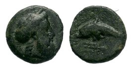 Islands off Caria, Rhodos. Rhodes. Ca. 380-350 B.C. AE   Condition: Very Fine  Weight: 1.18 gr Diameter: 11 mm