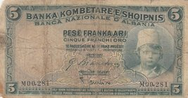 Albania, 5 Franka Ari, 1926, POOR, p2