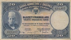 Albania, 20 Franka Ari, 1926, VF, p3