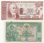 Albania, 100 Leke and 200 Leke, 1957/1992, UNC, p30, p52, (Total 2 banknotes)