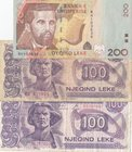 Albania, 100 Leke (2) and 200 Leke, 1994/2012, VF, (Total 3 banknotes)