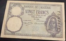 Algeria, 20 Francs, 1939, FINE, p78c