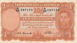 Australia, 10 Shillings, 1949, XF, p25c