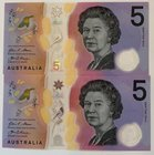 Australia, 5 Dollars, 2016, UNC, p62a, TWIN SERIAL NUMBERS, (Total 2 banknotes)