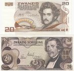 Austria, 20 Shillings (2), 1967/1986, AUNC, p142, p148, (Total 2 banknotes)