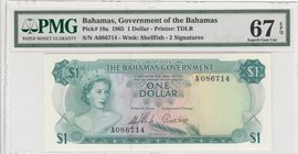 "Bahamas, 1 Dollar, 1965, UNC, p18a, ""High Condition""