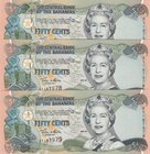 Bahamas, 50 Cents, 2001, UNC, p68, (Total 3 consecutive banknoteses)