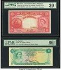 Bahamas Bahamas Government 10 Shillings; 1 Dollar ND (1953); 1965 Pick 14b; 18a Two Examples PMG Very Fine 30 Net; Gem Uncirculated 66 EPQ. Pick 14b; ...