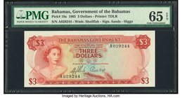Bahamas Bahamas Government 3 Dollars 1965 Pick 19a PMG Gem Uncirculated 65 EPQ.   HID09801242017