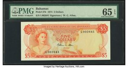 Bahamas Central Bank 5 Dollars 1974 Pick 37b PMG Gem Uncirculated 65 EPQ.   HID09801242017