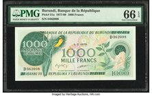 Burundi Banque de la Republique 1000 Francs 1.5.1979 Pick 31a PMG Gem Uncirculated 66 EPQ.   HID09801242017