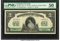 Canada Dominion of Canada $1 17.3.1917 DC-23a-i PMG About Uncirculated 50.   HID09801242017