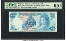 Cayman Islands Currency Board 50 Dollars 1974 (ND 1987) Pick 10a PMG Gem Uncirculated 65 EPQ.   HID09801242017