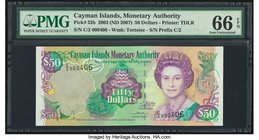 Cayman Islands Monetary Authority 50 Dollars 2003 (ND 2007) Pick 32b PMG Gem Uncirculated 66 EPQ.   HID09801242017
