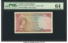 Ceylon Central Bank of Ceylon 2 Rupees 3.6.1952 Pick 50 PMG Choice Uncirculated 64.   HID09801242017