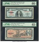 Cuba Banco Nacional de Cuba 1; 10 Pesos 1949; 1960 Pick 77a 88c Two Examples PMG Gem Uncirculated 66 EPQ; Gem Uncirculated 65 EPQ.   HID09801242017