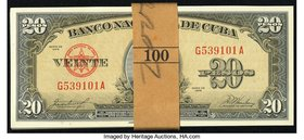 Cuba Banco Nacional de Cuba 20 Pesos 1958 Pick 80b Pack of 100 Consecutive Notes Crisp Uncirculated.   HID09801242017