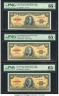 Cuba Banco Nacional de Cuba 50 Pesos 1950; 1958; 1960 Pick 81a; 81b; 81c Three Examples PMG Gem Uncirculated 66 EPQ; Gem Uncirculated 65 EPQ (2).   HI...