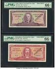 Cuba Banco Nacional de Cuba 50; 100 Pesos 1961 Pick 98s; 99s Two Specimens PMG Gem Uncirculated 66 EPQ.   HID09801242017