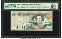 East Caribbean States Central Bank, Montserrat 100 Dollars ND (2000) Pick 41m PMG Gem Uncirculated 66 EPQ.   HID09801242017