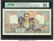 France Banque de France 5000 Francs 8.10.1942 Pick 103a PMG Choice Very Fine 35. Small tears.  HID09801242017