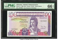 Gibraltar Government of Gibraltar 50 Pounds 27.11.1986 Pick 24 PMG Gem Uncirculated 66 EPQ.   HID09801242017