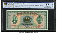 Greece Bank of Greece 100 Drachmai ND (old date 6.6.1927) Pick 98a PCGS Gold Shield About UNC 55 OPQ. Red new bank name overprint on P#91.  HID0980124...