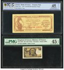 Greece Bank of Greece; Kingdom of Greece 100,000,000 Drachmai; 1 Drachma 7.10.1944; 27.10.1917 Pick 164; 308 Two Examples PCGS Gold Shield Choice EF 4...