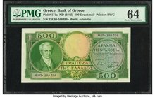 Greece Bank of Greece 500 Drachmai ND (1945) Pick 171a PMG Choice Uncirculated 64.   HID09801242017