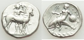 CALABRIA. Tarentum. Ca. 340-332 BC. AR stater or didrachm (22mm, 7.69 gm, 1h). Fine, graffiti, flan flaw. H- and A-, magistrates. Warrior standing fac...