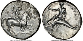CALABRIA. Tarentum. Ca. early 3rd century BC. AR didrachm (21mm, 3h). NGC VF. Lycon and Si-, magistrates. Warrior on horseback right, thrusting spear ...