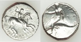 CALABRIA. Tarentum. Ca. early 3rd century BC. AR stater or didrachm (22mm, 7.84 gm, 6h). VF, scrubbed. Ca. 302-280 BC. Deinocrates, and Si- magistrate...